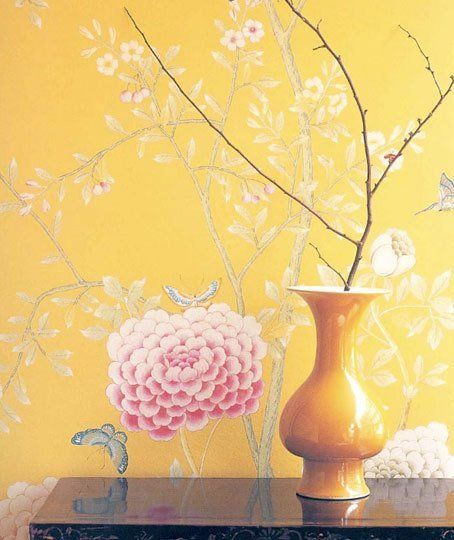Color Combo Yellow, Pink & Cream Chinoiserie wallpaper