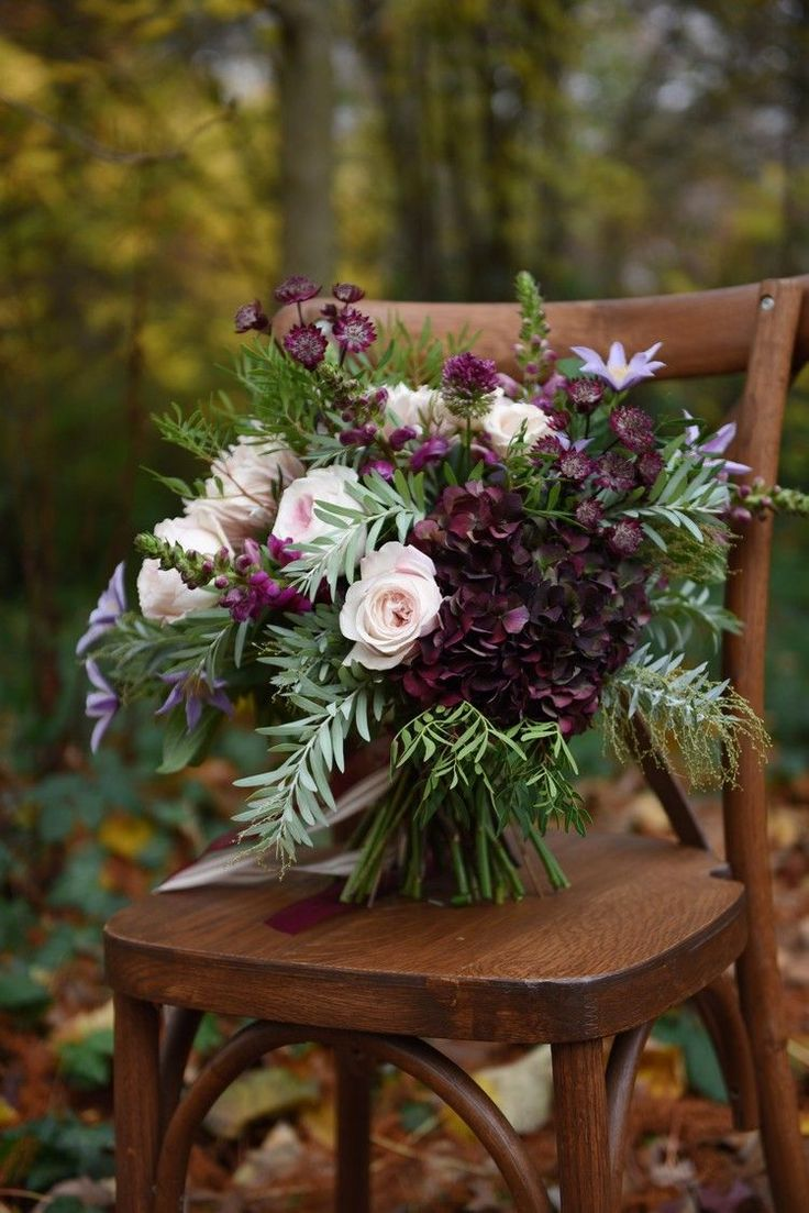 Bouquet Flowers Plum Blush Ivory Foliage Bride Bridal Rich Autumn Park Wedding Ideas http://www.evatarnok.com/