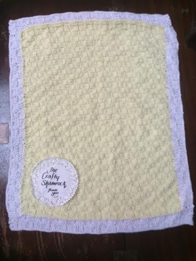 Baby Blanket, Irish Hand Knitted, Soft Acrylic, Yellow with White Border, Pram, Buggy, Car Seat, 20x18 inch by TheCraftyShamrock on Etsy