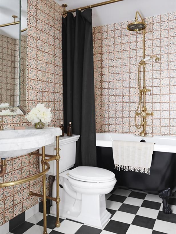 bright Moorish tiling meets black + white checkers in a fresh bathroom mix