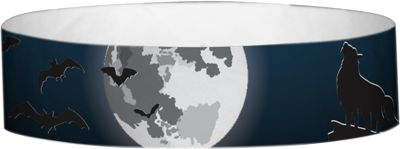 """""""Howl at the Moon"""" Tyvek® 3/4"""" Pattern Wristbands perfect for Halloween parties or any other special event. www.medtechgroup.com #Halloween #Wristband #Bats #Events #Admission #Ticket"""