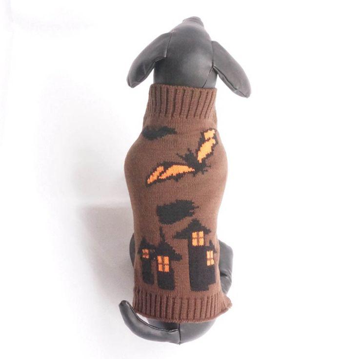 Halloween Brown Bats Dog sweater Castle Style Pet Dog Vest Cute Clothes Puppy Winter Sweater ropa para mascotas Drop Ship #555