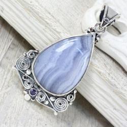 Srebrny wisiorek z agatem - Wisiory - Biżuteria
