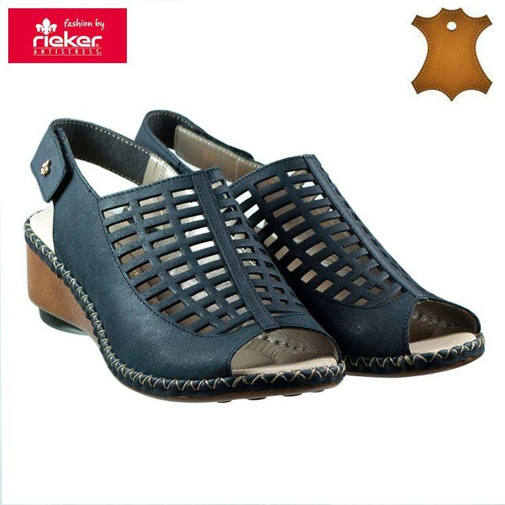 Poze Sandale dama piele naturala RIEKER 66157-14 bleumarin