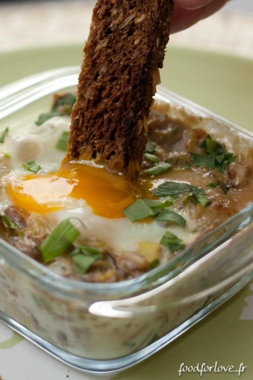 Eggs Cocotte with Mushrooms and Leeks