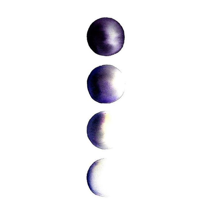 Phases of the moon . . . #wallart #moon #buyart #illustration #artwork #interior #decor #watercolour #akvarell #måla #painting #contemporaryart #watercolor #moonphases #moonrise