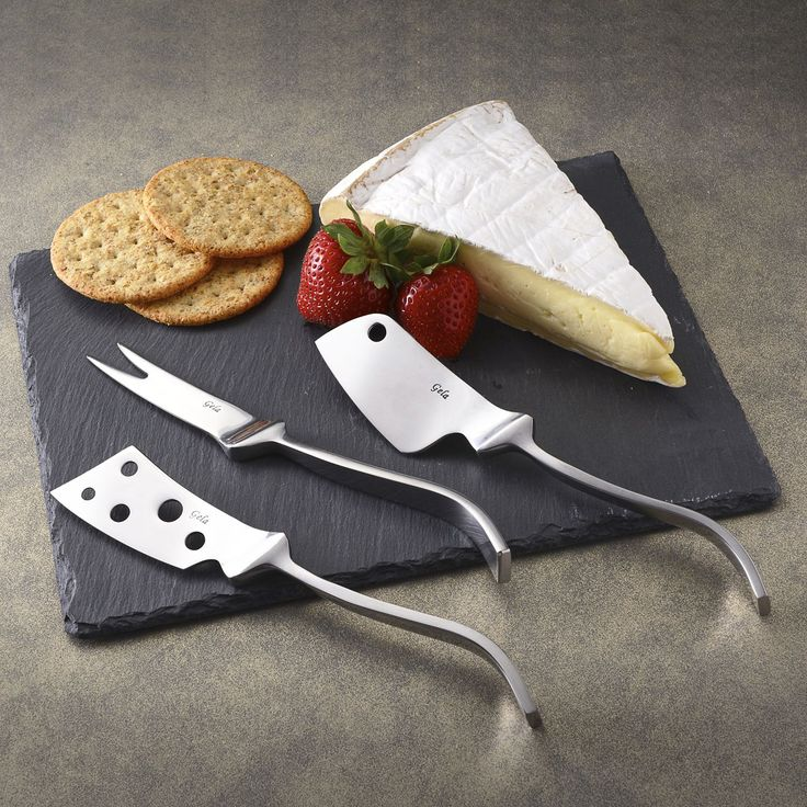 Modern Cheese knives set with slate board (12X8), Grey (Stainless Steel)