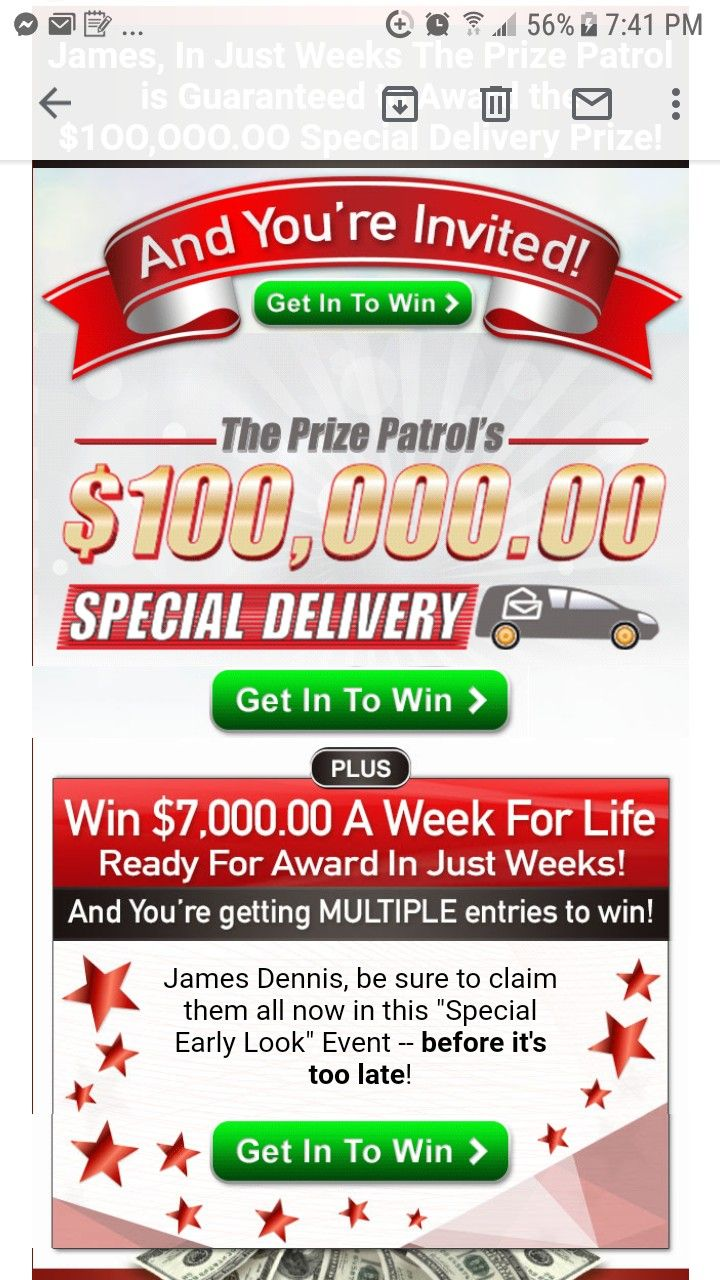 PCH PRIZE PATROL I RROJAS CLAIM MY SPECIAL DELIVERY $100,000 00 GET