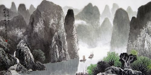 Chinese Ink Painting P0701436. Chinese Boat and Mountains Painting ...