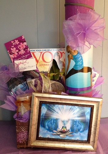 Gentle Yoga Gift Basket! Namaste! Learn more at: http://uniquedesignscreations.com/product_info.php/cPath/59/products_id/369