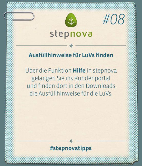Ausfüllhinweise für LuVs finden. #stepnovatipps #Software #Dokumentation #BeruflicheBildung #Maßnahme #stepnova