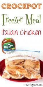Crock Pot Freezer Meal Recipe Italian Chicken from TheFrugalGirls.com