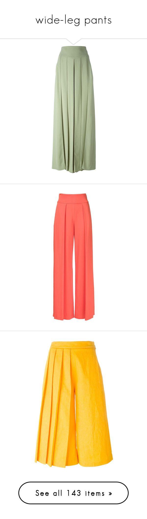 """wide-leg pants"" by bonadea007 ❤ liked on Polyvore featuring pants, skirts, trousers, maxi skirt, pantaloni, green, high waisted pleated pants, wide-leg pants, pleated wide leg trousers and high-waisted trousers"