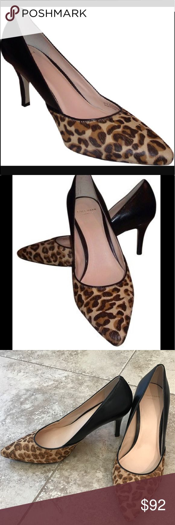 NWOT Cole Haan leopard print heels Cole Haan heels in printed calf hair/leather, mark from sale sticker to bottom of shoes (see pic) never worn. No box included. Stickers intact, but no tags. First two pics stock photos, rest of item for sale Cole Haan Shoes Heels