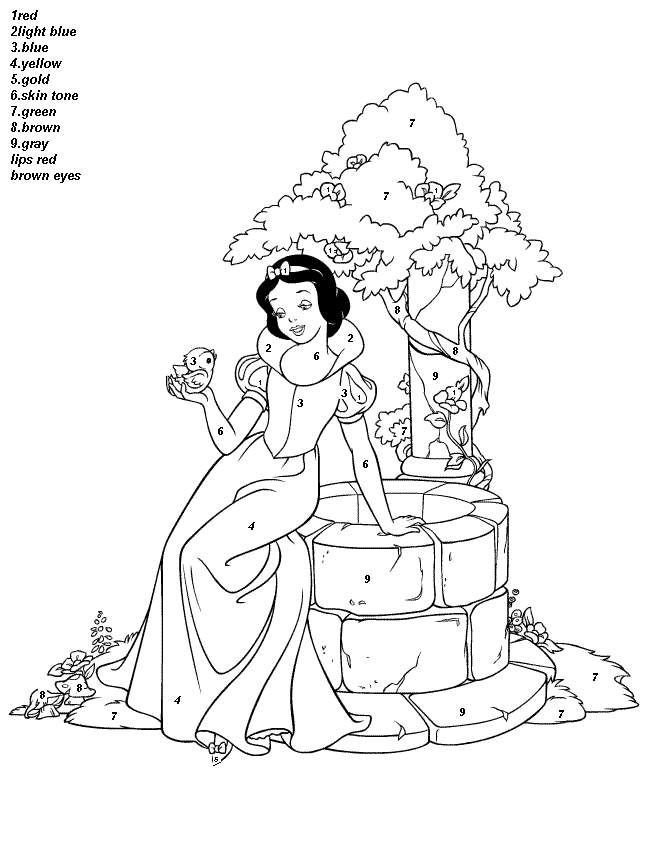 color by number Beautiful Disney Princess Snow White