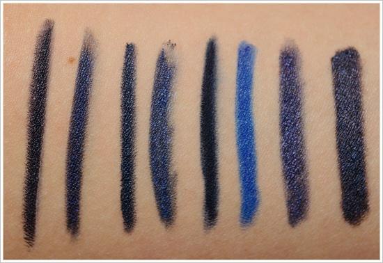 Navy Blue Eyeliners:BB Black Navy, MUFE #8K, bareMinerals Noon,  D 8, EL Blackened Sapphire, MAC Marine Ultra, MAC Prussian, MAC Blooz
