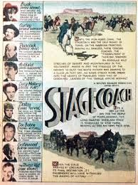STAGECOACH (1939) - Claire Trevor - John Wayne - Andy Devine - John Carradine - Thomas Mitchell - Louise Platt - George Bancroft - Tim Holt - Based on story by Ernest Haycox - Produced by Walter Wanger - Directed by John Ford - United Artists - Trade Magzine Ad.