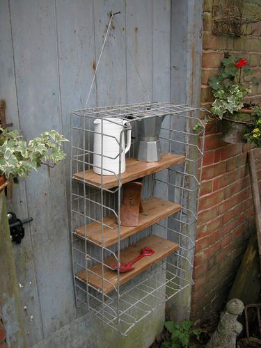 A LOVELY VINTAGE INDUSTRIAL METAL CRATE SHELF | eBay