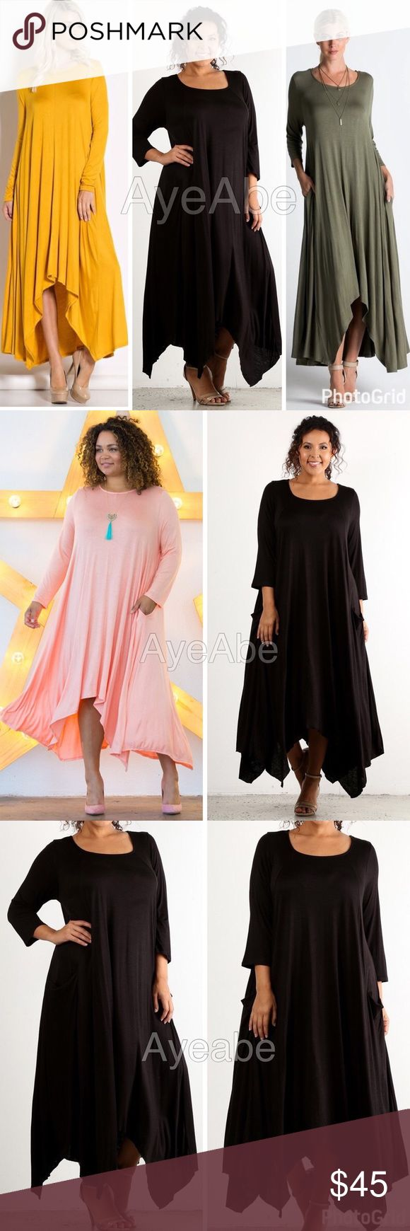 plus size loose oversized fit hi low maxi dress New plus size  Hi Low hem, asymmetrical hem Long Sleeve  Oversized Flowy Maxi with pockets SUPER sexy Long sleeve hi low maxi dress,side Pockets, Oversized, loose fit Super Comfy, soft knit jersey material lightweight fabric. Dresses Maxi
