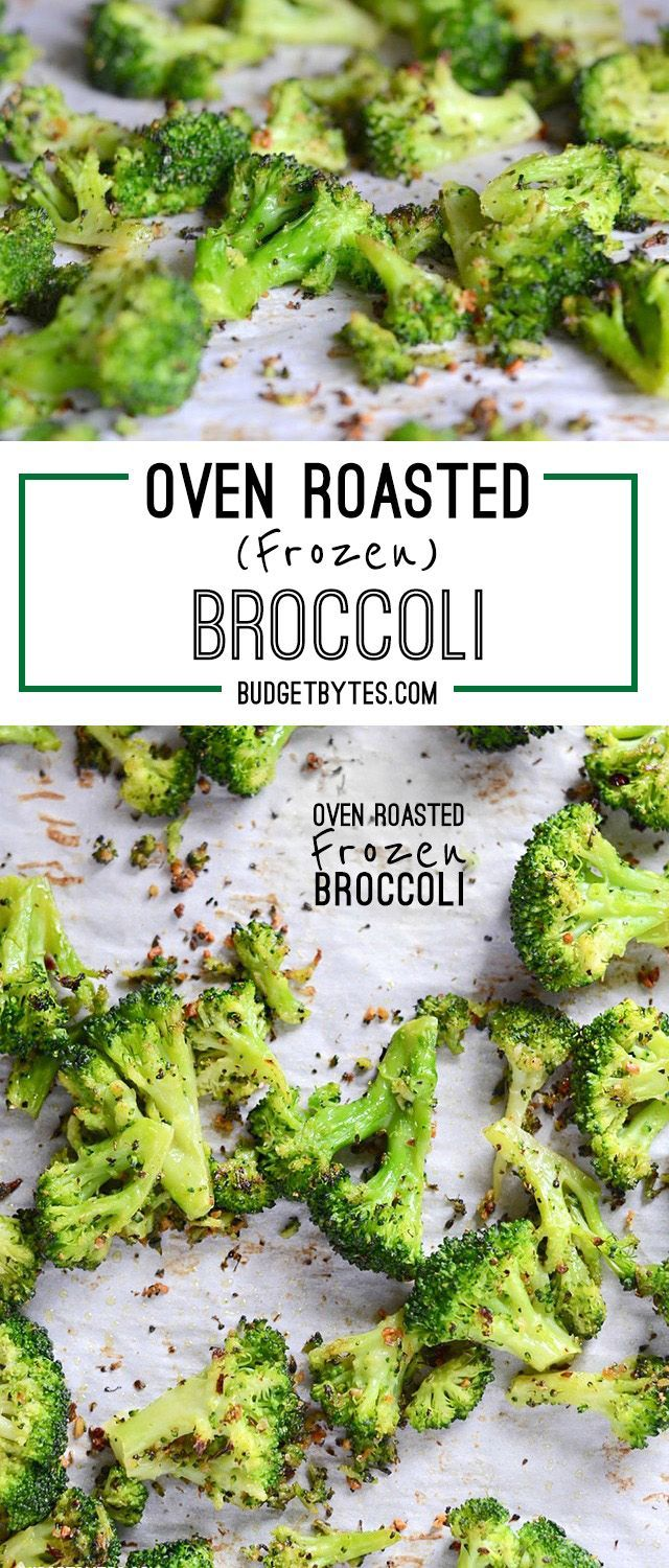 Roasting broccoli is made faster and easier with the use of precut frozen broccoli florets. Oven Roasted Frozen Broccoli is an easy side dish for any meal! @budgetbytes