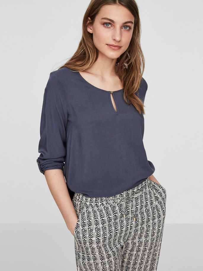 CLASSIC 3/4 SLEEVED BLOUSE, Ombre Blue, large - Vero Moda