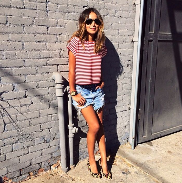 love these denim shorts and striped tee!