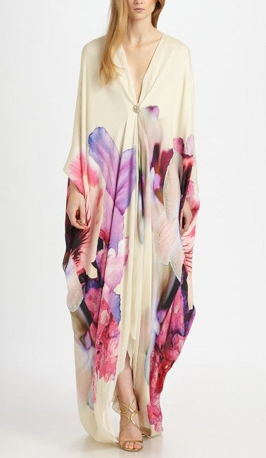 ROBERTO CAVALLI Floral Deep V Silk Caftan Gown