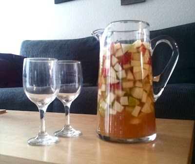 Apple Cider Sangria  3 gala apples, 3 green anjou pears, a bottle of Barefoot moscato the higher alcohol content, the better!, 2 1/2 cups of apple cider, and 1/2...