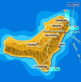 El Hierro es la isla más occidental y también la más pequeña de las islas. Su capital es Valverde y en 2000 la isla se hizo una Reserva de la Biosfera. En 2011 hubo una erupción volcánica submarina.