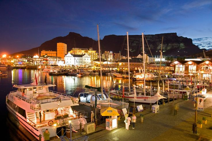 V and A Waterfront in Cape Town at night.  (www.southafricasafariblog.com)