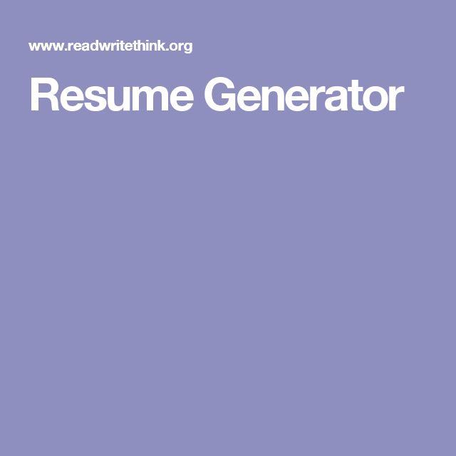 read write think resume generator node2004resumetemplate