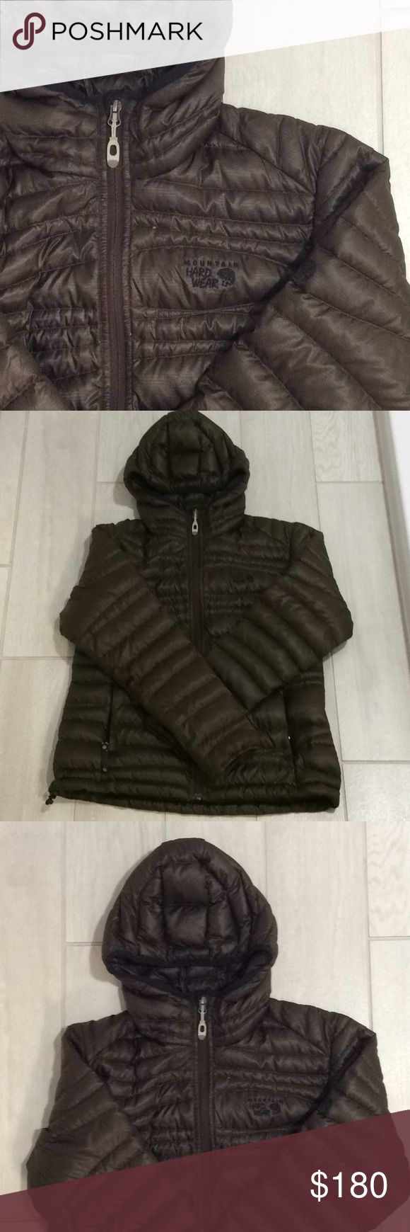 mountain hardwear hooded puffer mountain hardwear women's hooded puffer.   chocolate brown. down. packable into inside pocket. note tear repair on right arm measuring 1/2 inch (seen in last pic). jacket is otherwise in euc. Mountain Hardwear Jackets & Coats Puffers