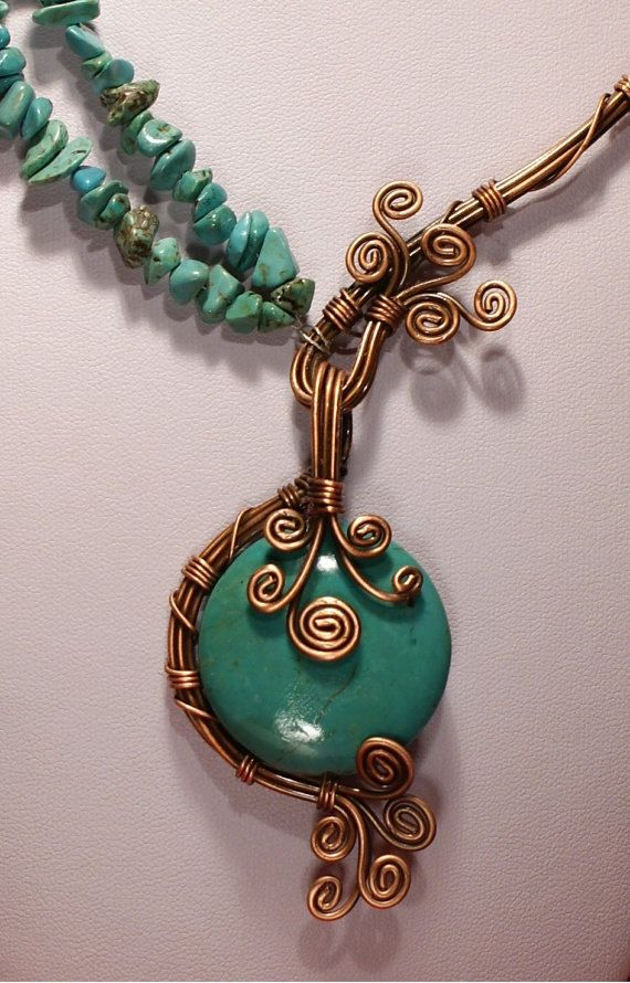 turquoise necklace-copper wire wrapped jewelry by BeyhanAkman