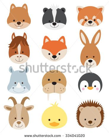 Vector illustration of animal faces including squirrel ...
