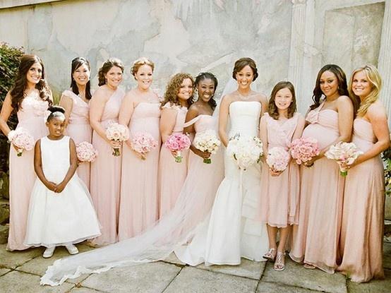 blush dresses, blush wedding, blush bridesmaids, blush color palette - @Jessica Glynn