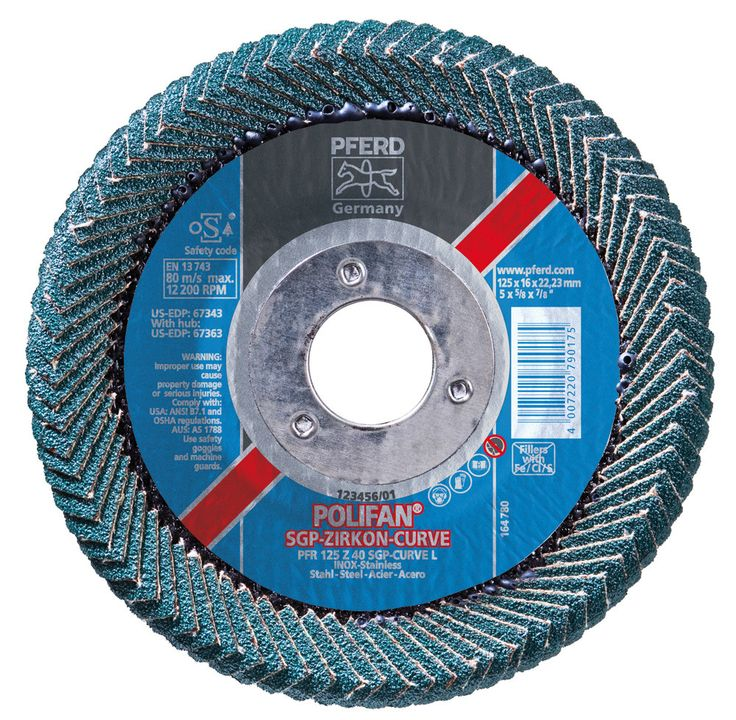 "Pferd 67343 Polifan PSF Abrasive Flap Disc, Large Radius, Radial Shape, Round Hole, Phenolic Resin Backing, Zirconia Alumina, 5"" Dia., 40 Grit (Pack of 1)"