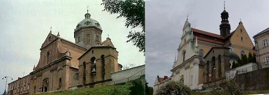 Architectural change of John the Baptist Cathedral (III). Left 1980s photo, right 2010s after restructuring for roman catholic church