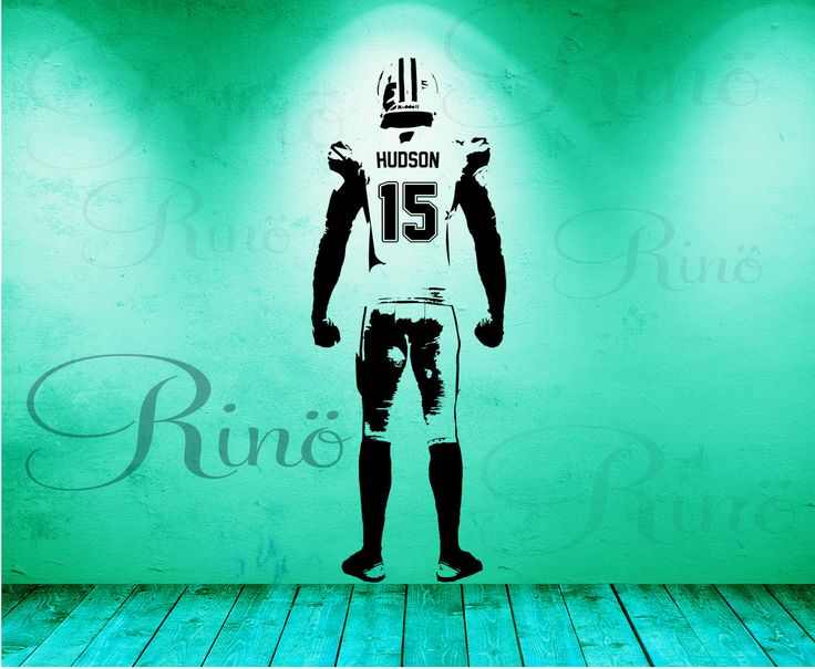 Football Wall Decal Wall art Decor Custom jersey name and number Vinyl sticker american football bedroom personalized football vinyl player by RINOhomedecor on Etsy