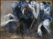 Betto Lotti,  Le Anime / L'Organista, 1913,  olio e pastello su tela, cm 103x141