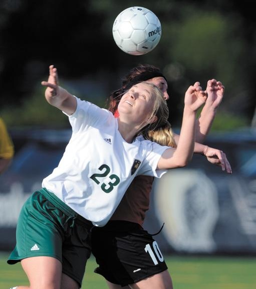 Tri-City Celtics Kristen Connors (23) battles United FC Binghamton's Kaitlyn Cook (10) for the ball in first half of Women's Premier Soccer League action Wednesday, June 12, 2013 at Plumeri Sports Complex in Albany. (J.S.Carras/The Record)