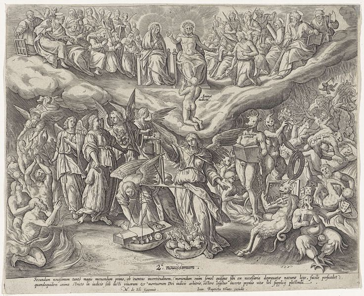 Anonymous | Laatste Oordeel, Anonymous, Johannes Baptista Vrints (I), 1575 - 1610 | Boven tronen Maria en Christus. Ze worden geflankeerd door de apostelen en enkele andere heiligen. Voor hen knielt een naakte man. Onder weegt de aartsengel Michaël de zielen van de doden. Linksvoor enkele figuren in het vagevuur. Daarachter engelen met geselinstrumenten. Achter de engelen trekt een engel de goede zielen omhoog. Rechts straffen demonen de slechte zielen in de hel. Onder in de marge een…
