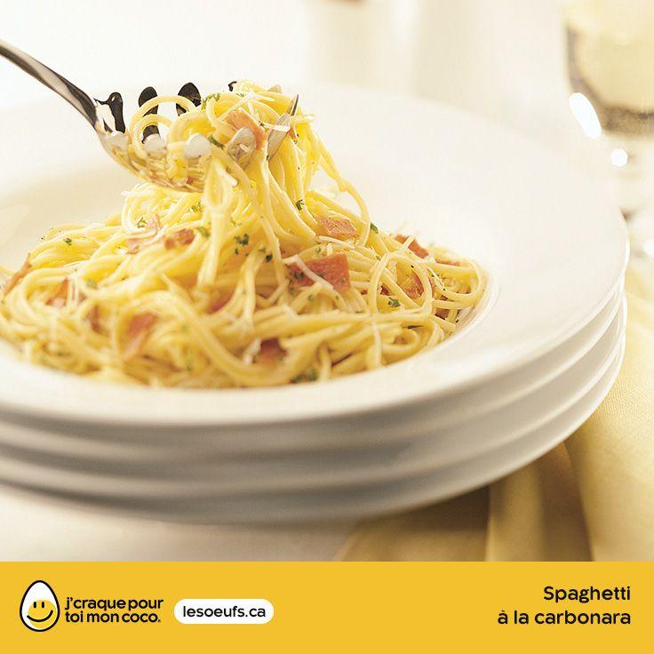 Spaghetti à la carbonara | lesoeufs.ca | #Oeufs #Spaghetti