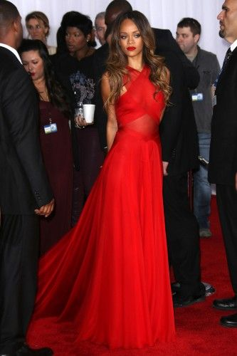 Rihanna - Grammys 2013; BEST DRESSED in my book for 2013 Grammys - she pulls off simplicity nicely in a bold, sexy red dress that compliments her warm skin tone and hair