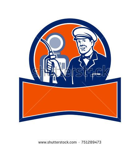 Retro style illustration of a vintage gas station attendant holding a fuel nozzle with petrol station set inside circle with banner below on isolated background.  #gasstation #retro #illustration