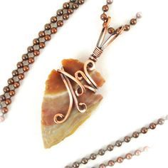 Wire Wrapped Jasper Arrowhead Antiqued Copper by CBGJewelryDesigns