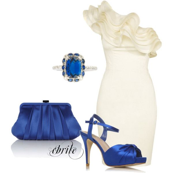 I found Evening or Wedding Party Outfit with Ruffle Neckline Dress, Clutch,