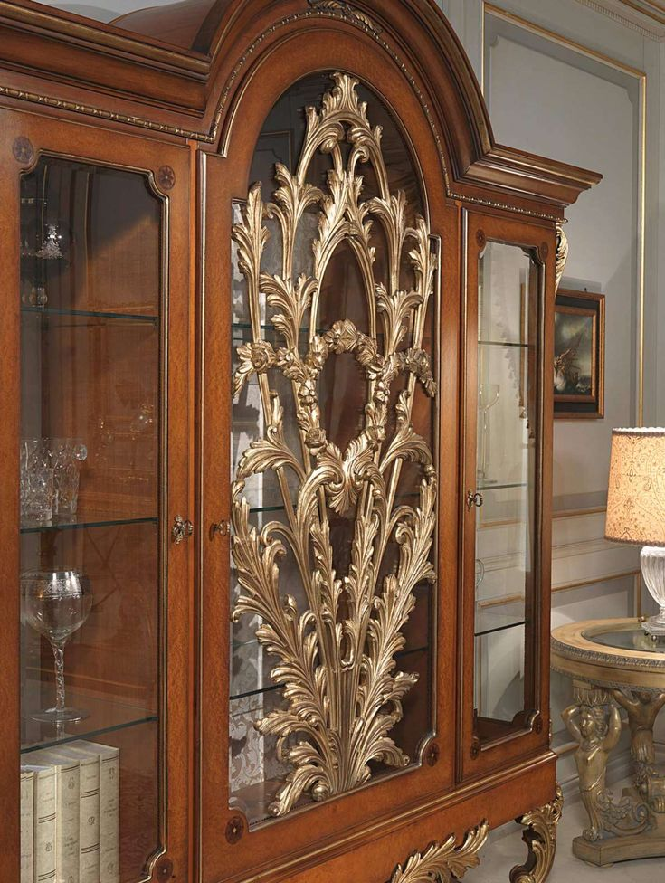 Carved Glass Showcase In Myrtle Burl Louis XVI Style Of The Versailles Classic Luxury Furniture Collection Finishing Walnut And Gold
