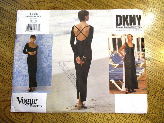 Designer 1990s DKNY Knit Fit & Flare Dress / Backless Sheath Gown - Size (12 - 14 - 16) - VINTAGE Sewing Pattern Vogue 1365