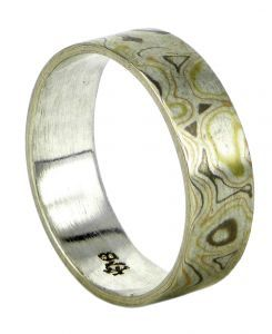 Mokume gane wedding ring in 18ct yellow, rose and palladium white gold and sterling silver - $1485
