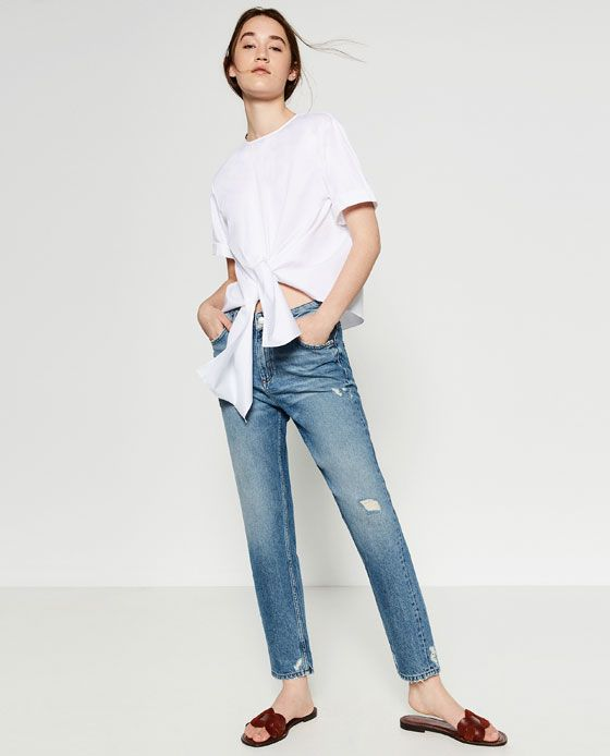 Image 1 of MOM FIT HIGH-WAISTED TROUSERS from Zara